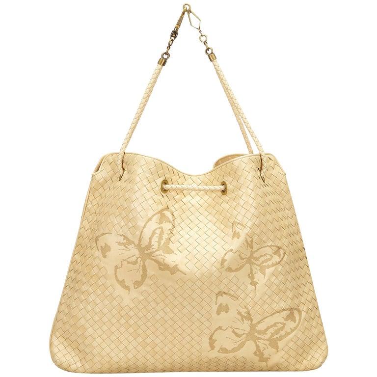 5d659fbbe3 Bottega Veneta Beige Aurora Waxed Leather Farfalle Drawstring Bag For Sale
