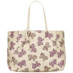 Bottega Veneta White x Ivory x Purple Intrecciato Mirage Tote Bag