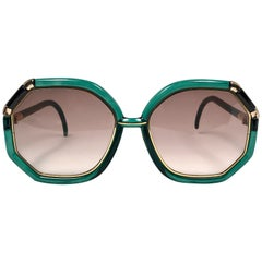 Ted Lapidus Paris Vintage Jade Green and Gold Sunglasses, 1970