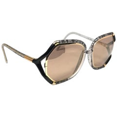 New Vintage Ted Lapidus Paris Translucent Black & Gold 1970 Sunglasses