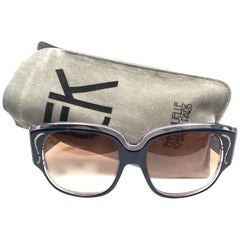 New Vintage Emanuelle Kahn Paris Rhinestones Accents Black Sunglasses France