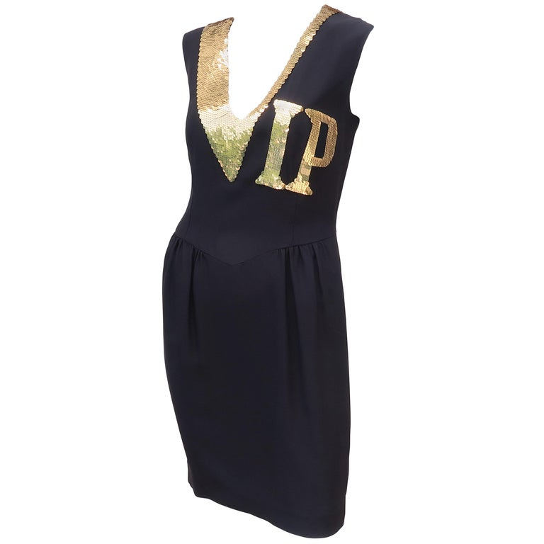 f1ff738172d Moschino Couture Black and Gold Sequin  VIP  Cocktail Dress For Sale ...