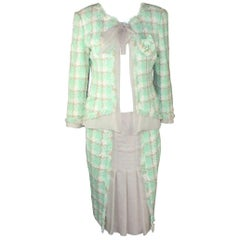 Iconic Chanel Lesage Fantasy Tweed and Silk Camellia Pastels Skirt Suit