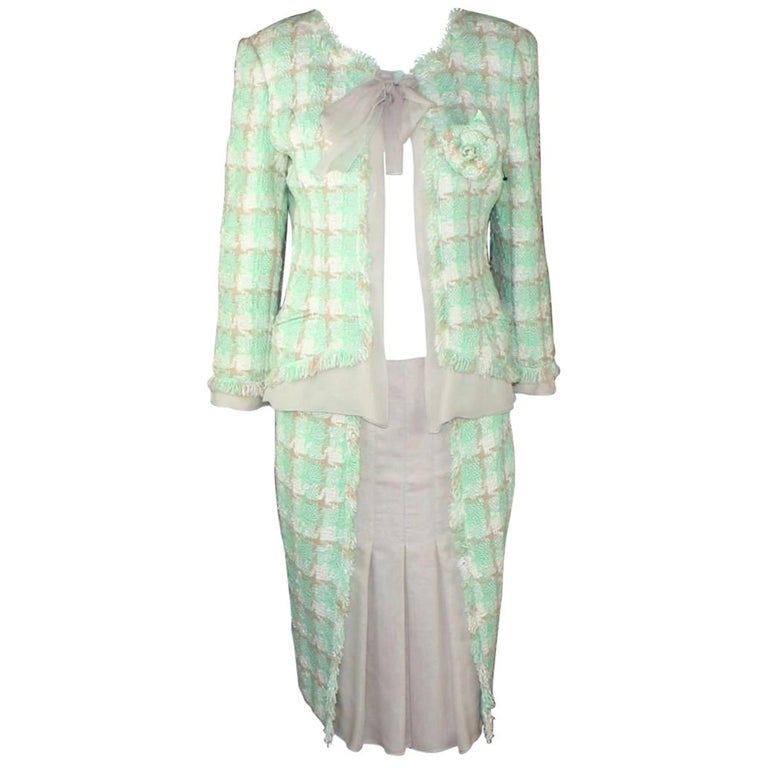 Iconic Chanel Lesage Fantasy Tweed and Silk Camellia Pastels Skirt Suit  For Sale