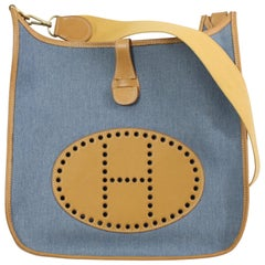 2002 Hermes Evelyne GM Blue Denim and Natural Leather Bag.
