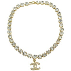 1996 Chanel Vintage Golden Metal Necklace and Fake Diamonds