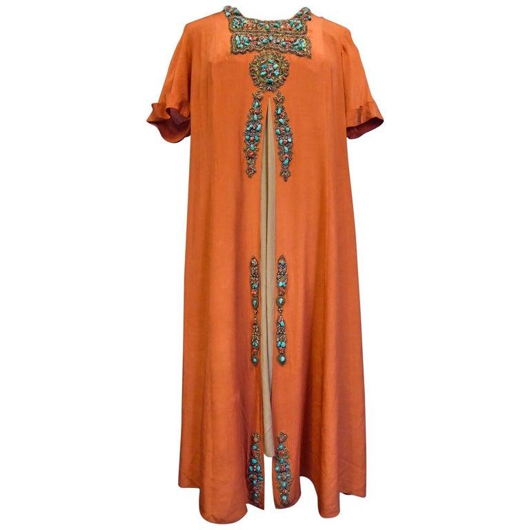 Art Deco Orientalist Jewel Silk Dress  with turquoises beaded Circa 1920 For Sale