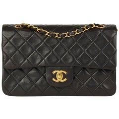 1992 Chanel Blsck Quilted Lambskin Vintage Small Classic Double Flap Bag