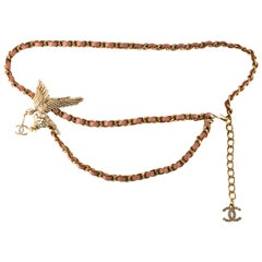 Rare Chanel Rhinestone Eagle CC Logo Leather & Chain Belt or Necklace