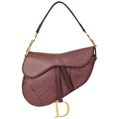 2001 Christian Dior Violet Ostrich Leather Saddle Bag