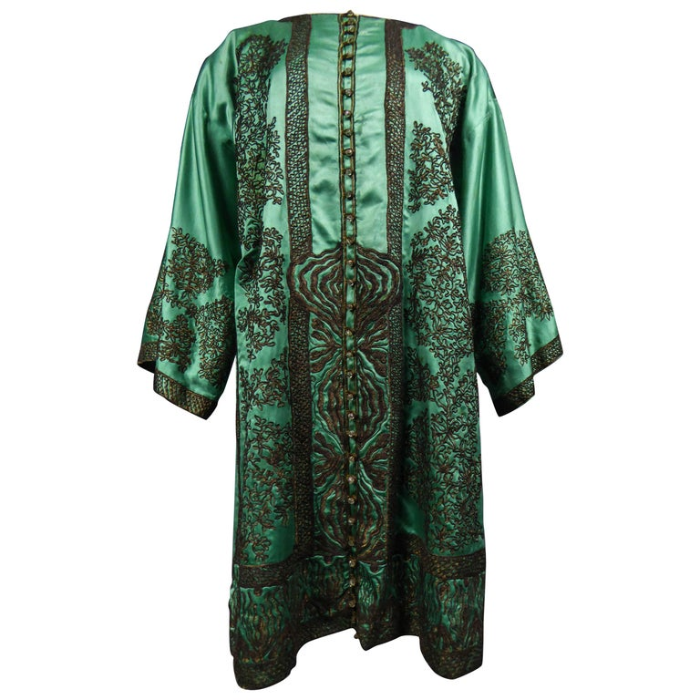 Babani Couture Kaftan or Party Kimono in green satin with appliqué  For Sale