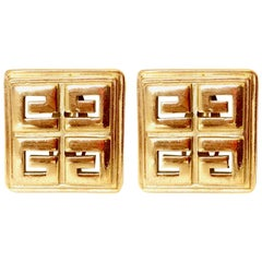 Givenchy 1980s Vintage Square 'G' Clip On Statement Earrings