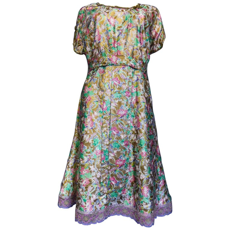 Surrealist Gold Printed Satin Dress Circa 1940 For Sale
