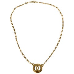 Chanel 1980s Vintage CC Logo Delicate Gold Plated Chain Necklace