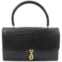 Hermes Vintage Black Croco Bag Chaine D'ancre
