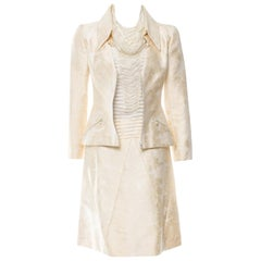 Chanel Ivory Silk Jacquard 3 Pc Camellia Skirt Suit Ensemble with pearl details