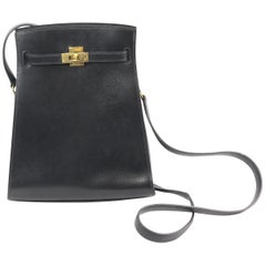 Vintage 1994 Hermes Mini  Kelly Sport Bag in Black Box Leather