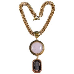 Patrizia Daliana Bronze chain and Murano glass cameo and cabochon pendant