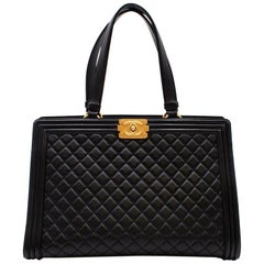 Chanel Black Quilted Leather Boy Shopping Tote Bag