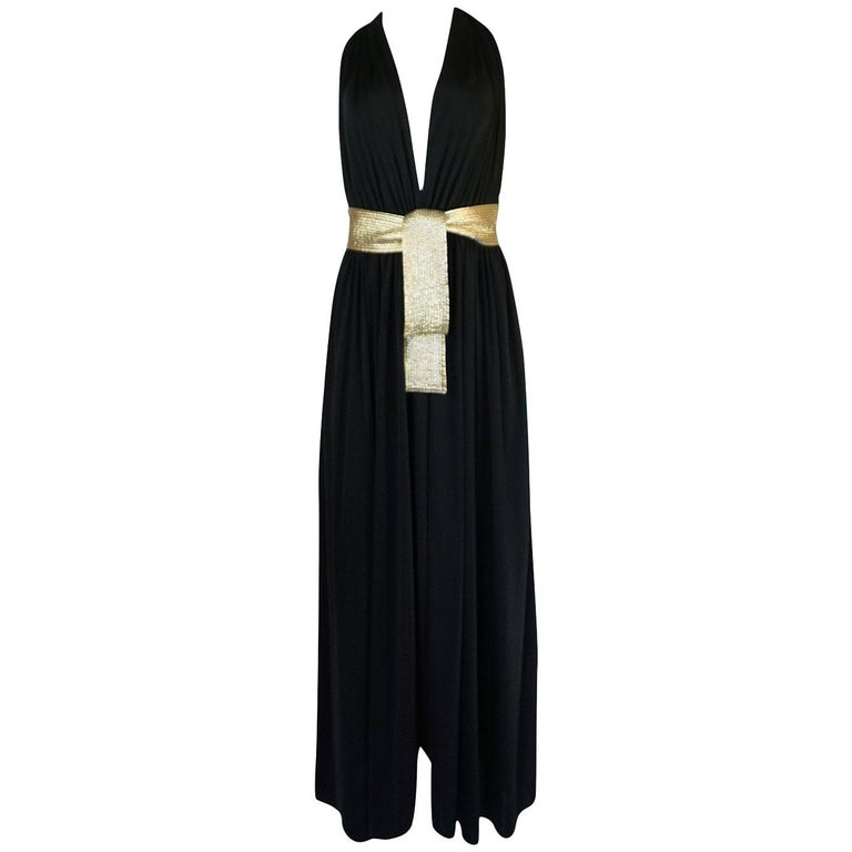 Documented 1980 Bill Tice Plunge Black & Gold Backless Halter Dress