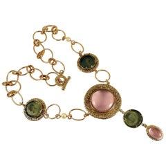 Patrizia Daliana Bronze and engraved Murano glass necklace