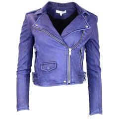 IRO Indigo Leather Ashville Moto Jacket Sz FR36 NWT