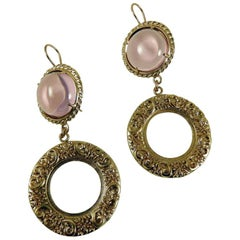 Bronze and pink glass cabochon earrings by Patrizia Daliana