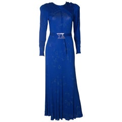 A vintage 1970s electric blue and beaded evening gown by Jean Muir