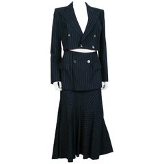 Jean Paul Gaultier Striped Navy Blue Suit with Cut-Out Waist Blazer
