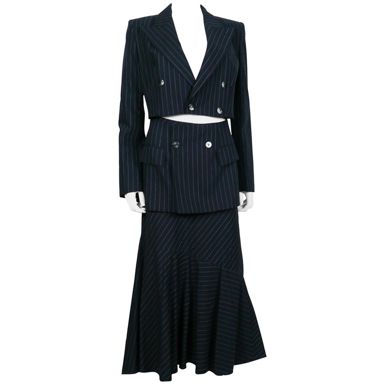 Jean Paul Gaultier Striped Navy Blue Suit with Cut-Out Waist Blazer