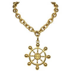 Chanel 1994 P Ship Wheel Nautical Chain Necklace