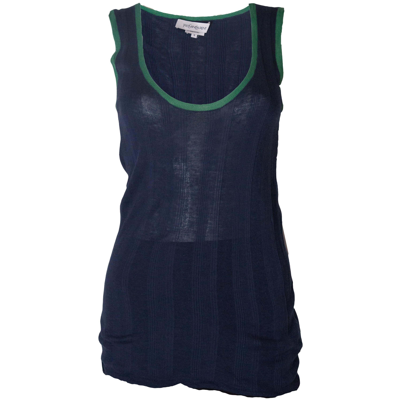 A vintage 2000 navy Silk Mix tank top/vest by Yves Saint Laurent