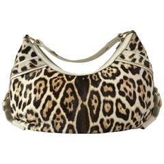 Yves Saint Laurent Leopard Print Calf Hair Hobo