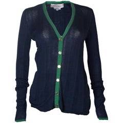 A Vintage 2000 navy Silk Mix Cardigan by Yves Saint Laurent