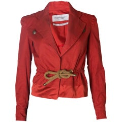A Vintage 2000 red belted jacket by Yves Saint Laurent