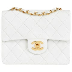 Chanel White Quilted Lambskin Vintage Mini Flap Bag, 1990s