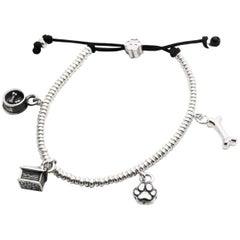 Dog Fever Sterling Silver 4 Charm Bracelet