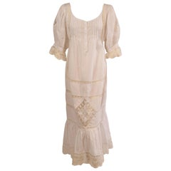 Victorian Inspired White Cotton and Lace Dress circa 1980