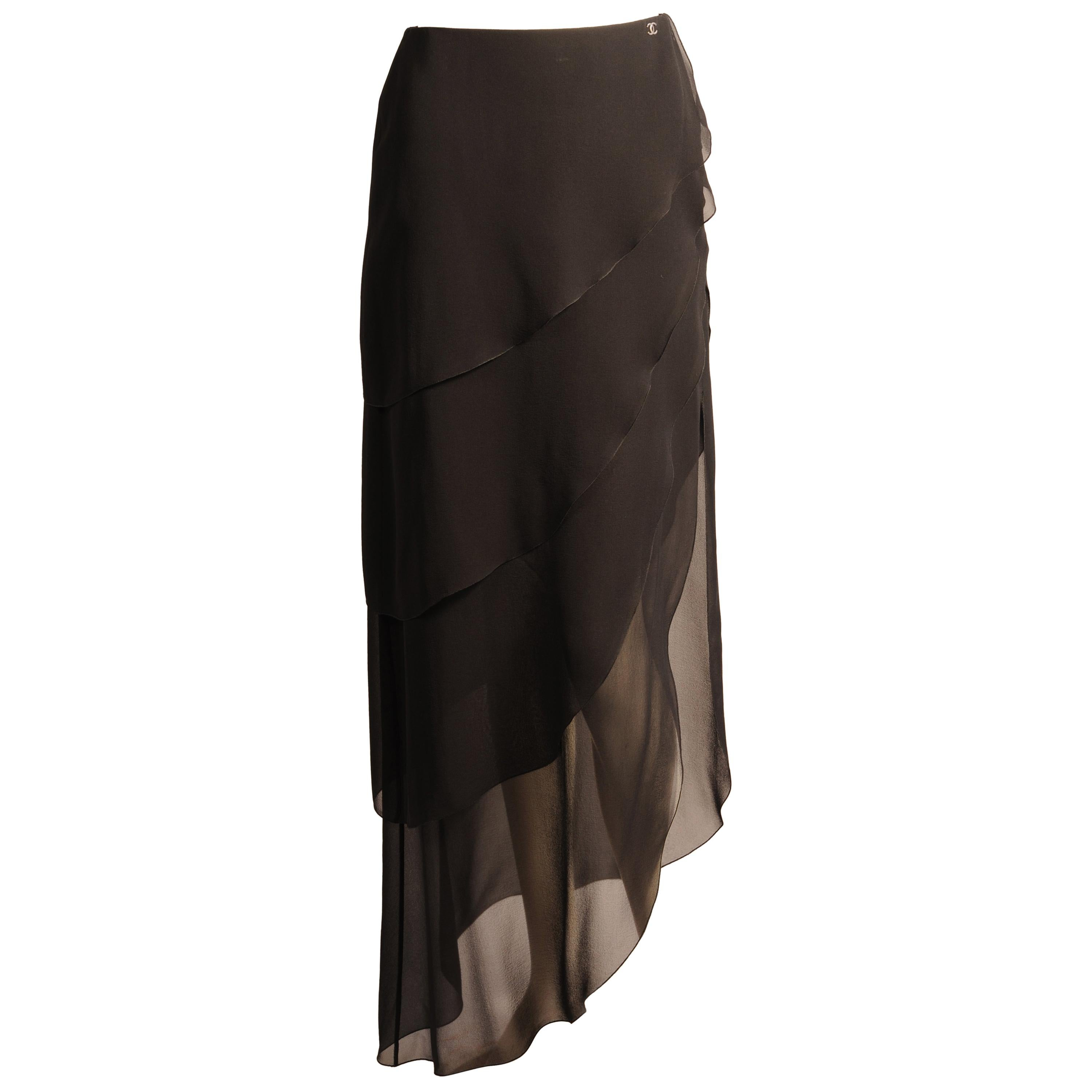 Chanel Black Silk Chiffon Tiered Skirt with High Side Opening