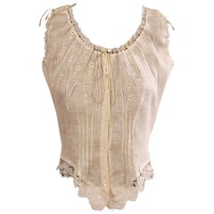 1970's Victorian Style Embroidered Linen and Lace Camisole
