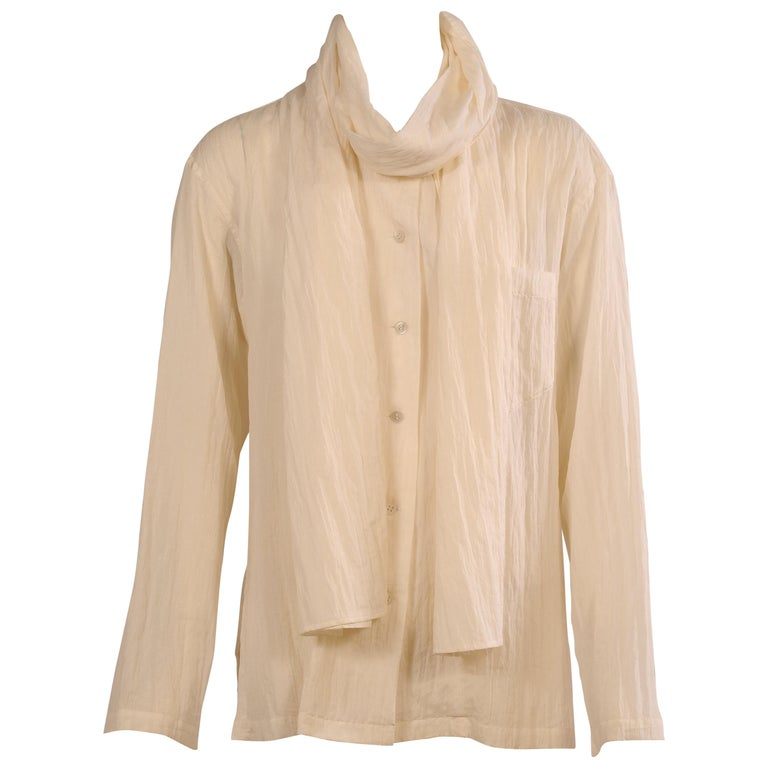 Issey Miyake Cream Silk Blouse with Attached Scarf