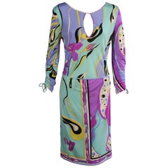 Pucci Silk Jersey Print Dress with Keyhole Neckline and Wrap Over Skirt  12