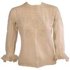 Joseph Enzler Broderie Swiss Handkerchief Linen Blouse with Hand Embroidery