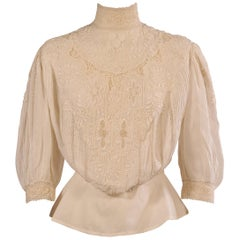 Victorian High Collared Hand Embroidered Linen Blouse