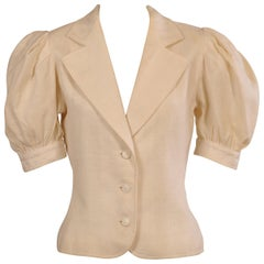 Yves Saint Laurent White Linen Jacket with Short Sleeves