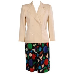 Yves Saint Laurent White Linen Jacket and Printed Linen Shorts