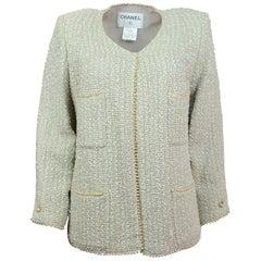 Chanel Beige Tweed Jacket with Faux Pearl Trim Sz FR48