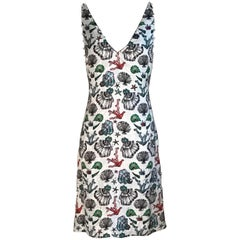 New Emilio Pucci Pearl Embellished Shell Print Multicolor Silk Dress