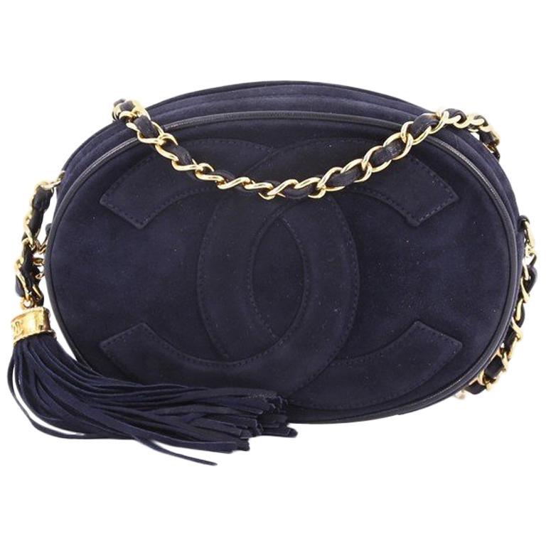 0c4a1c0a151e Chanel Vintage Oval CC Tassel Crossbody Bag Suede Mini at 1stdibs