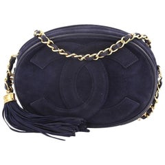 Chanel Vintage Oval CC Tassel Crossbody Bag Suede Mini